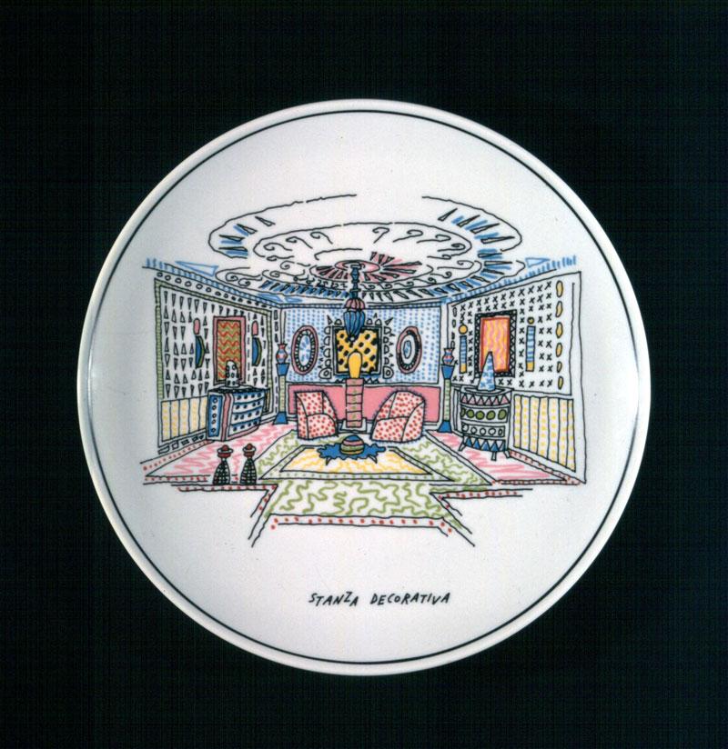 Alessandro Mendini, Stanze,1994, serie di sei piatti in ceramica, edizione limitata