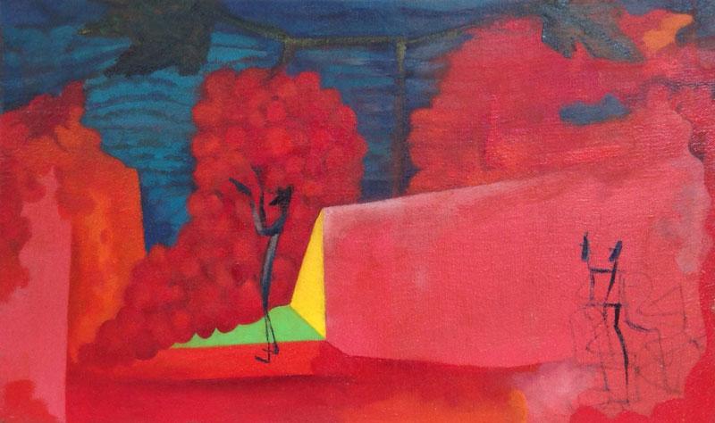 Marco Cingolani, Ebbrezza di noe, 1999, olio su tela,  42×70 cm
