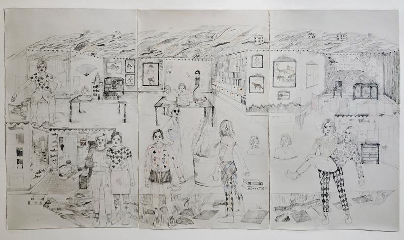 Erika Nordqvist, I am leaving now and I'm feeling great, 2018, tecnica mista su carta, 194×343,5 cm
