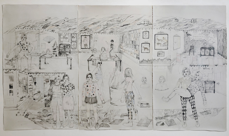 Erika Nordqvist, I am leaving now and I'm feeling great, 2018, pastelli e matita su carta , 194×343, 5 cm
