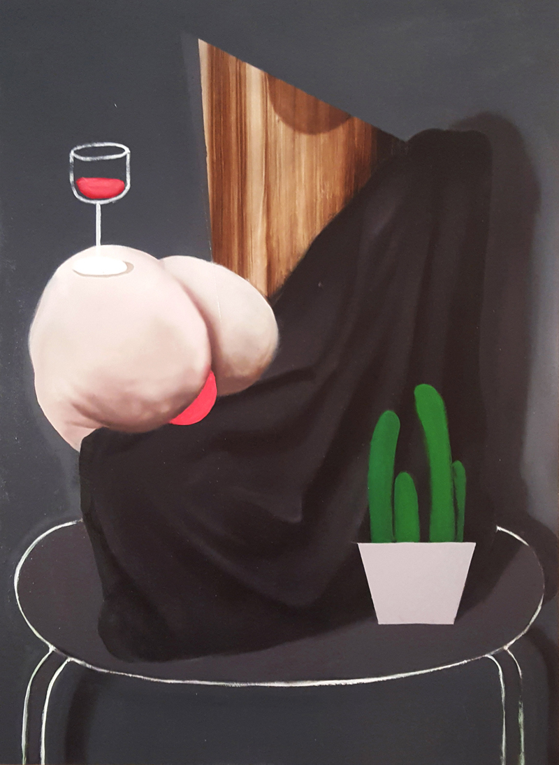 Giuliano-Sale,-Still-life-with-ass-and-good-wine,-2018,-olio-su-tela,-75×55-cm