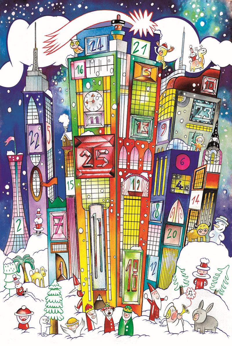 Massimo-Giacon-e-Marcello-Jori,-copertina-per-Calendario-dell'Avvento-Alessi,-2018,-inchiostro-e-acrilici-su-carta,-35×50-cm