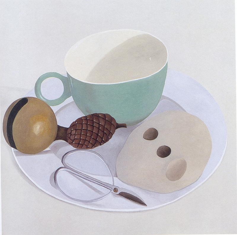 Nathalie Du Pasquier, Piatto con forbice, tazza, sasso, pigna e campanello, 1999, olio su tela, 130×130 cm