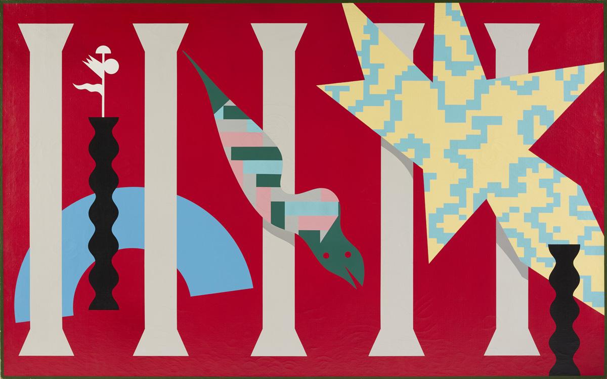 Alessandro Mendini, Untitled, 1986, nitro painting on canvas, 195×150 cm