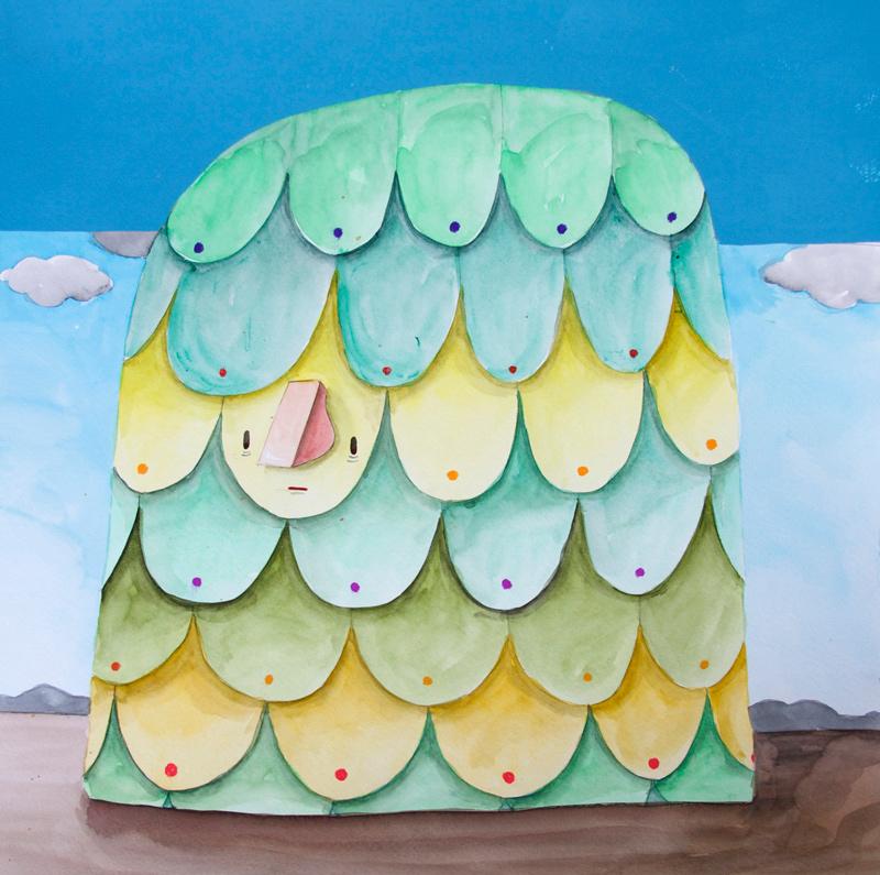 Carlos Donjuan, Bonbon, 2013, Watercolor On Paper, 45,7x45,7 Cm