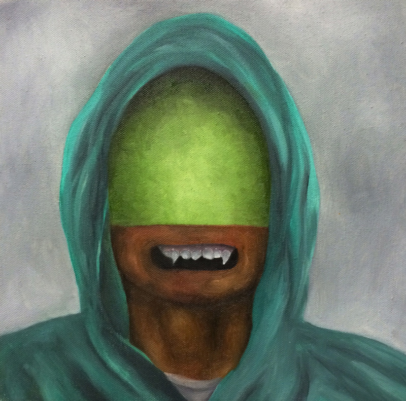 Carlos Donjuan, Green Hood, 2012, Oil On Canvas, 28x28 Cm