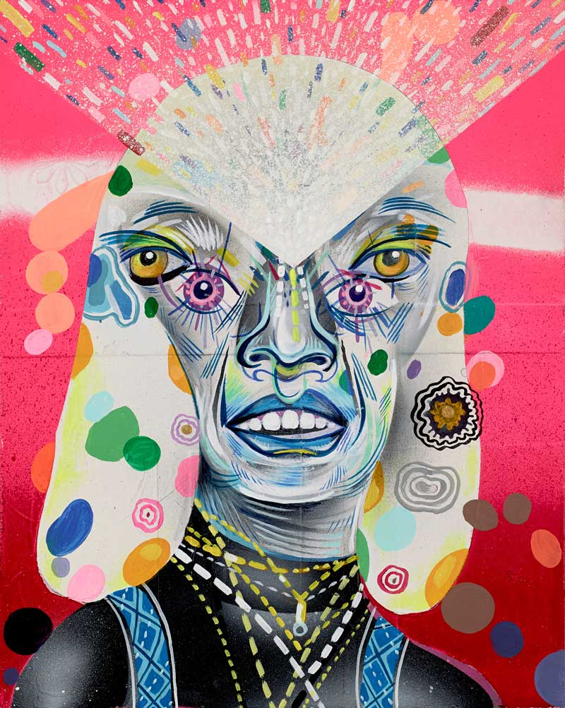 Clayton Brothers, Gleaming Crystal Gazer, 2013, mixed media on wood panel, 20 x 25 cm