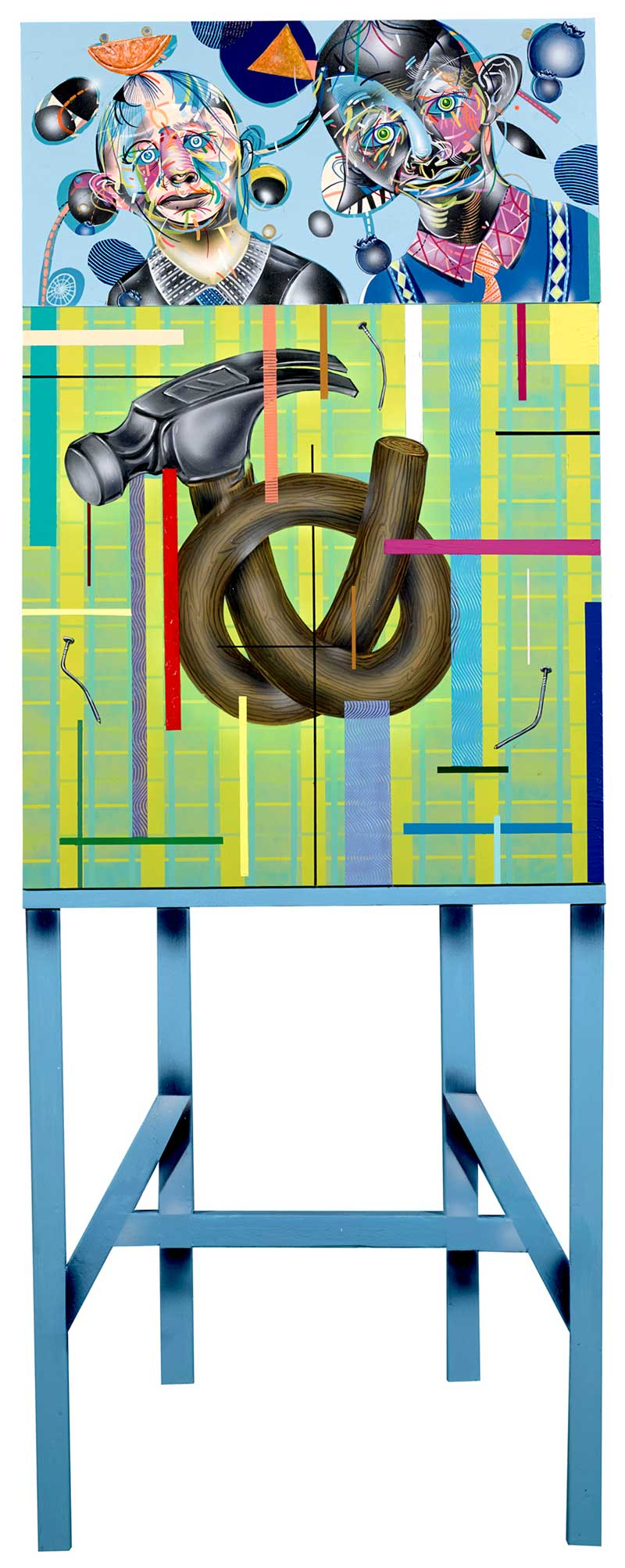 Clayton Brothers, Pull And Pick, 2013, mixed media on wood panel, 157x60 cm