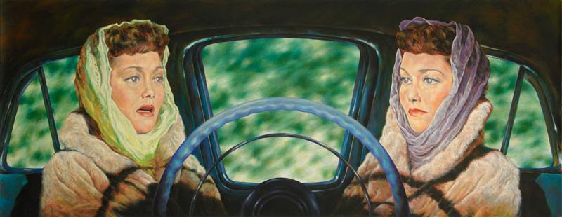 Eric White, 1956 Lincoln Capri (All That Heaven Allows), 2011, Olio Su Tela, Cm 45,5 X 116,5