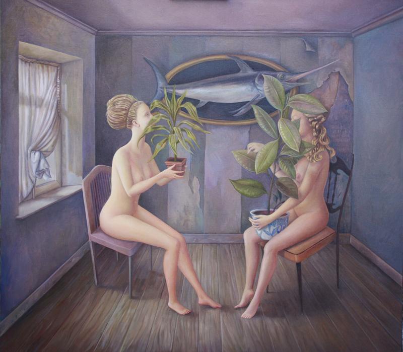 Ilaria Del Monte, Il dialogo, 2013, olio su tela, 80x90 cm