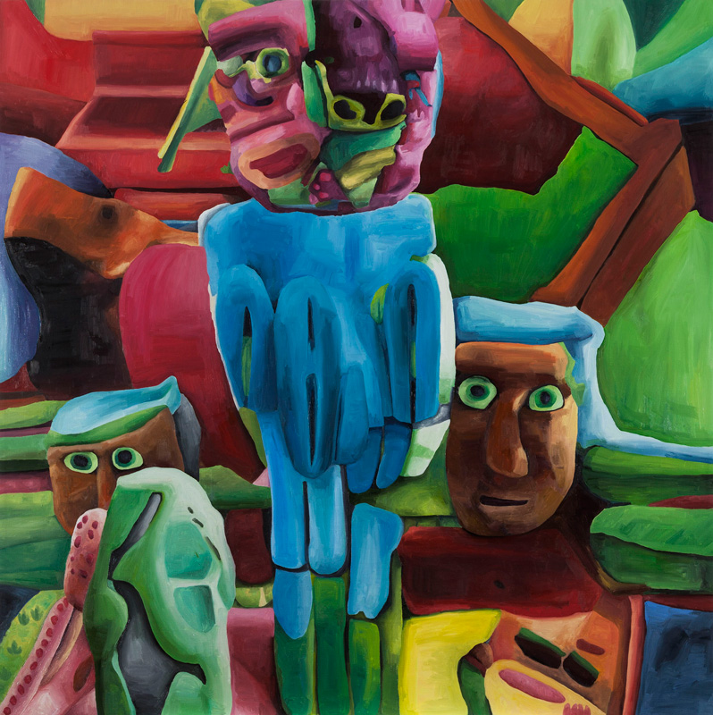 Marta Sesana, Totem, 2014, Oil On Linen, 150x150 Cm