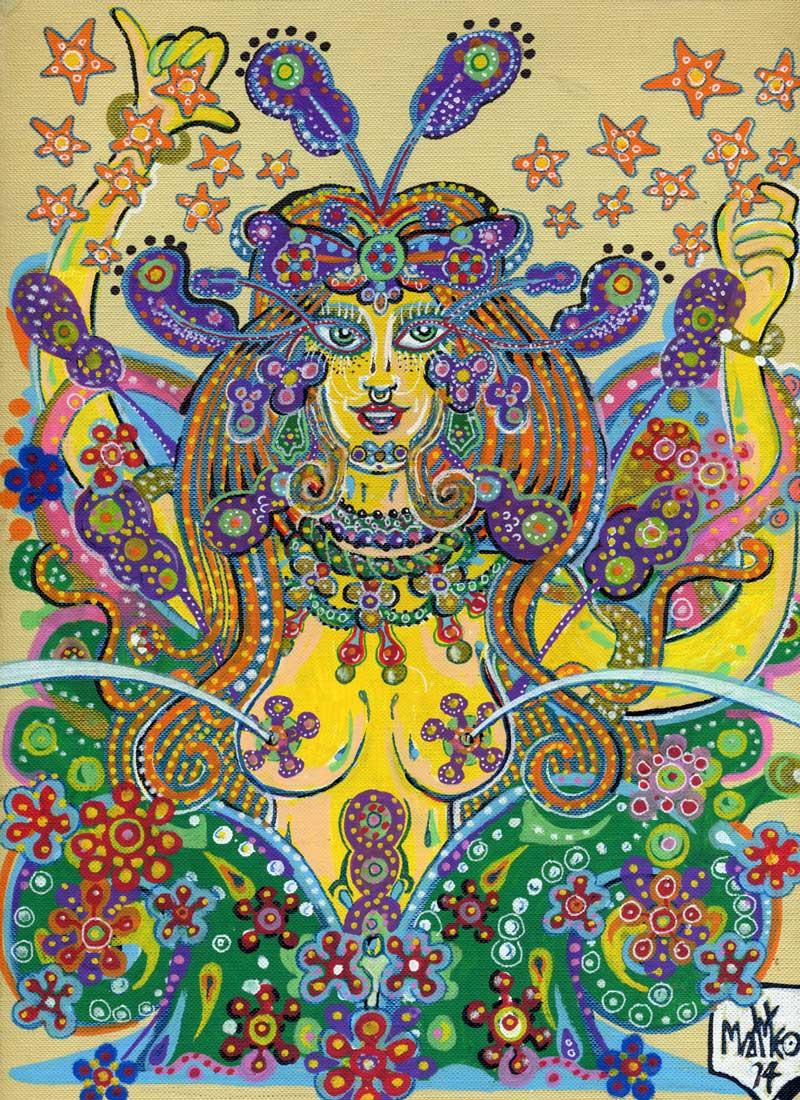 Matteo Guarnaccia, Floralia Remix, 2014, mixed media on paper, 22,5 x 30 cm