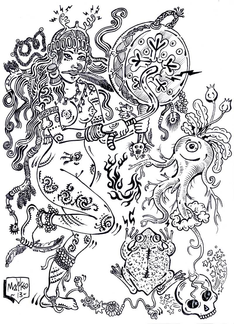 Matteo Guarnaccia, Sciamanarana, 2013, ink on paper, 24 x 33 cm