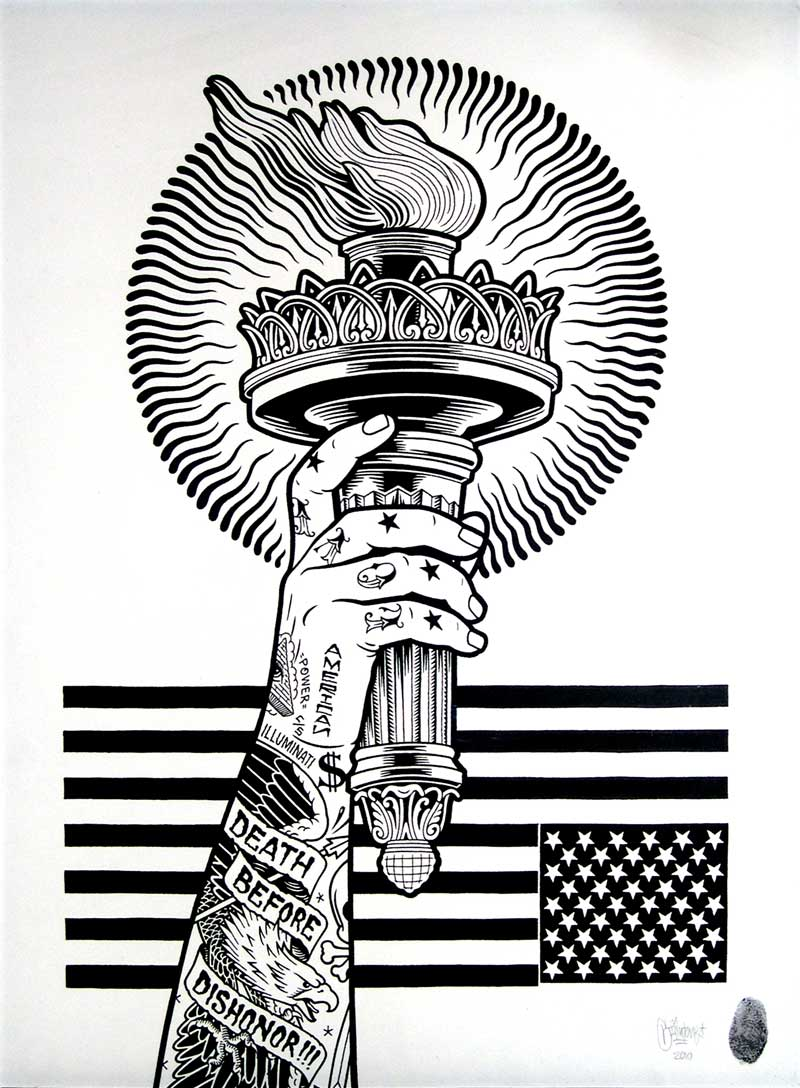 Mike Giant, Death before dishonour, 2010, ink on paper, 61 x 46 cm