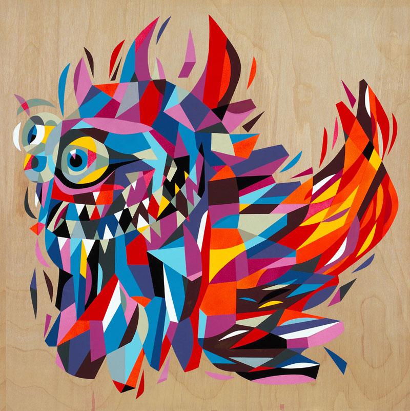 Tim Biskup, Rangeas #2, acrylic on plywood, 61 x 61cm