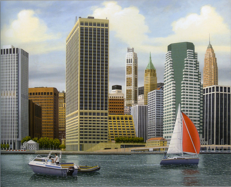 Aldo Damioli, Venezia-New-York, 2012, Acrylic On Canvas, 80x100 Cm