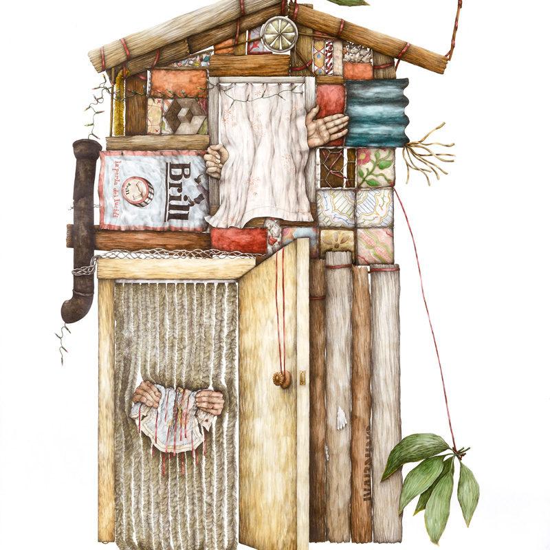 Cristina Pancini, A Casa, 2012, Tecnica Mista Su Carta, 200×150 Cm