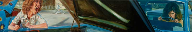 Eric White, 1967 Ford Ranchero (Coming Home), 2011, oil on canvas, 20,3x116,8 cm