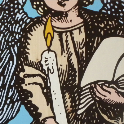 Gabriele Arruzzo, Guardian Angel (with Candle And Die), 2006, Enamel On Board, 40×40 Cm