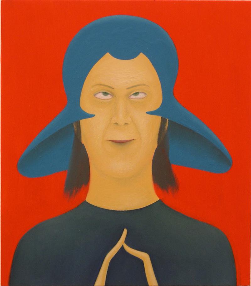 Giuliano Guatta, L'uomo venuto dallo spazio, 2003, oil on board, 40x35 cm
