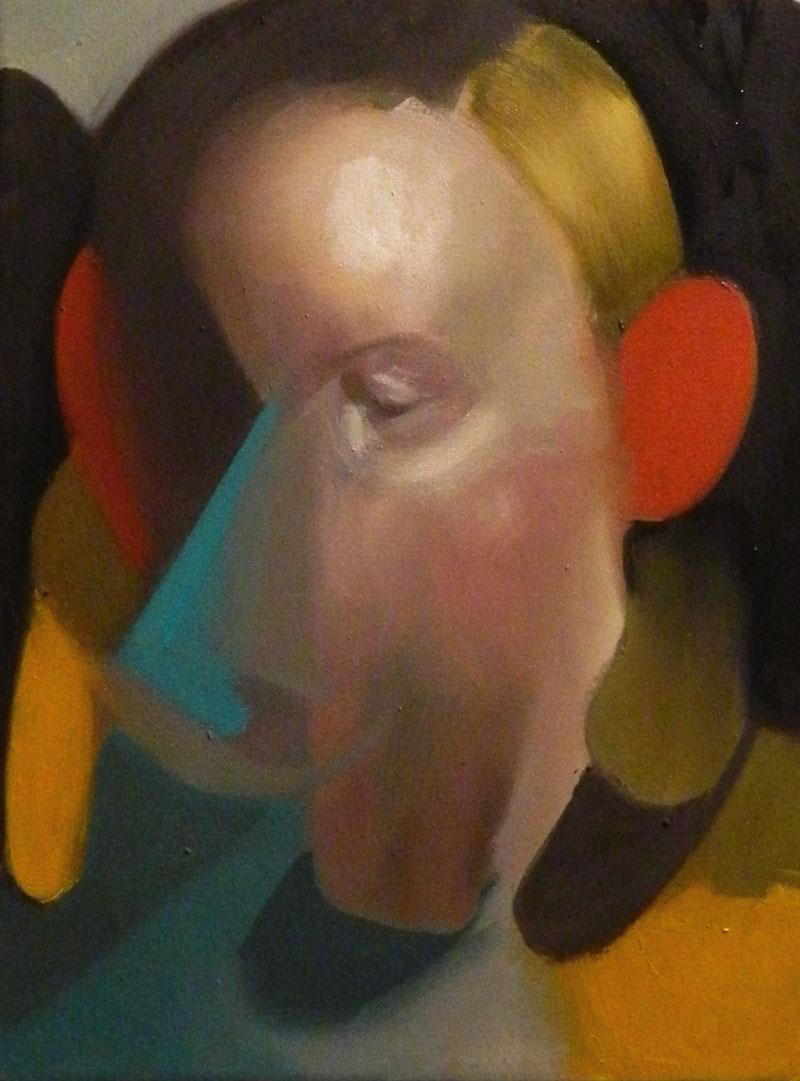 Giuliano Sale, Untitled-(blue-triangle), 2015, oil on canvas, 18×24 cm