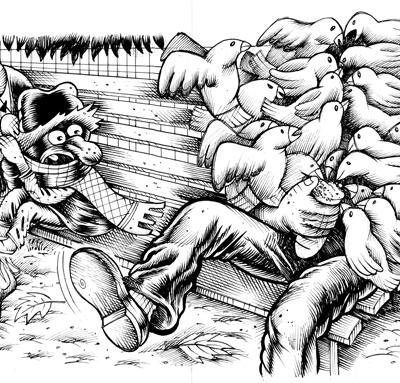 Hurricane, Una Domenica Al Parco, Illustrazioni Per Zero, 2012, Ink On Paper, 15x31 Cm