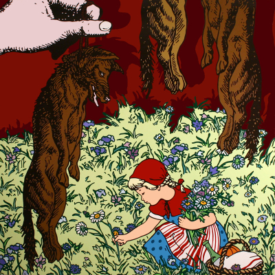 Gabriele Arruzzo, Little Red Riding Hood (with Hanging Wolves), 2006, Acrylic On Board, 200×200 Cm