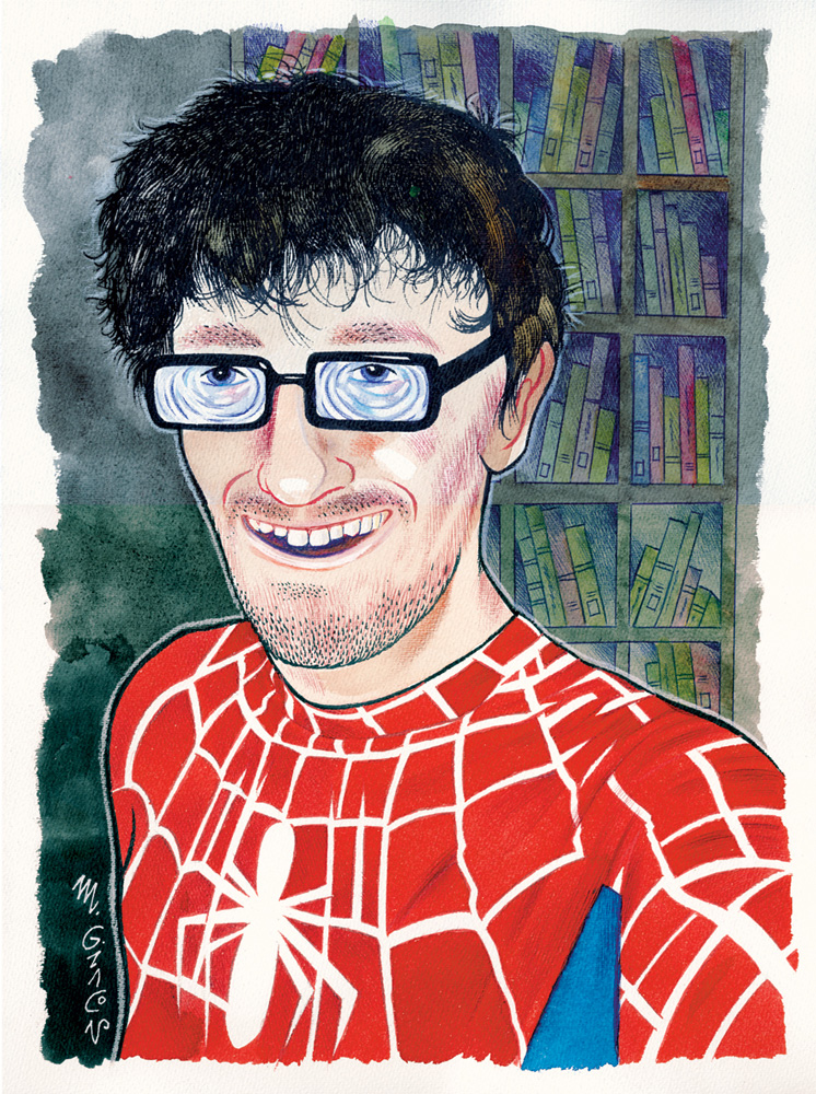 Massimo Giacon, Spiderman-Cosplayer, 2012, ink and ecoline on paper, 40x30 cm