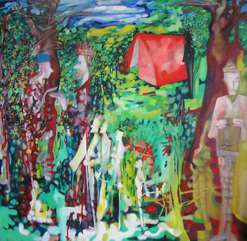 Marco Cingolani, Meeting (peace and love), 2005, acrylic on canvas, 180x180 cm