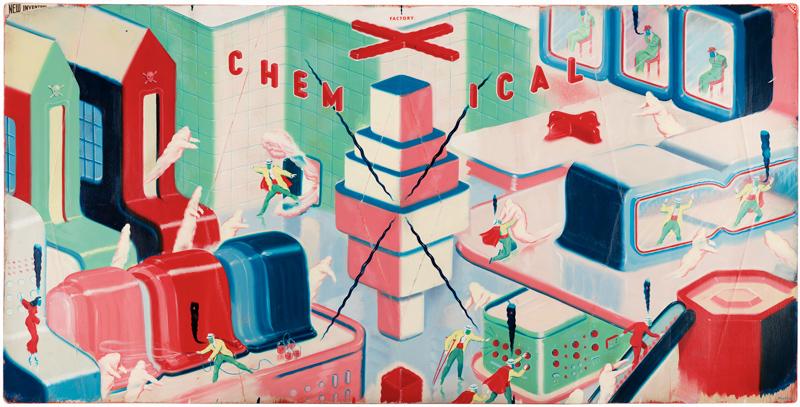 Ryan Heshka, Chemical X Factory, 2013, Acrylic And Mixed Media On Board, 56×111 Cm
