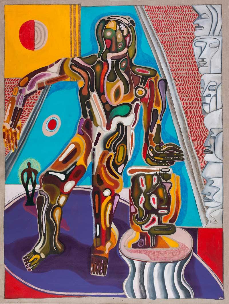 Zio Ziegler, Bilateral Isolation, 2015, mixed media on canvas, cm 245x183