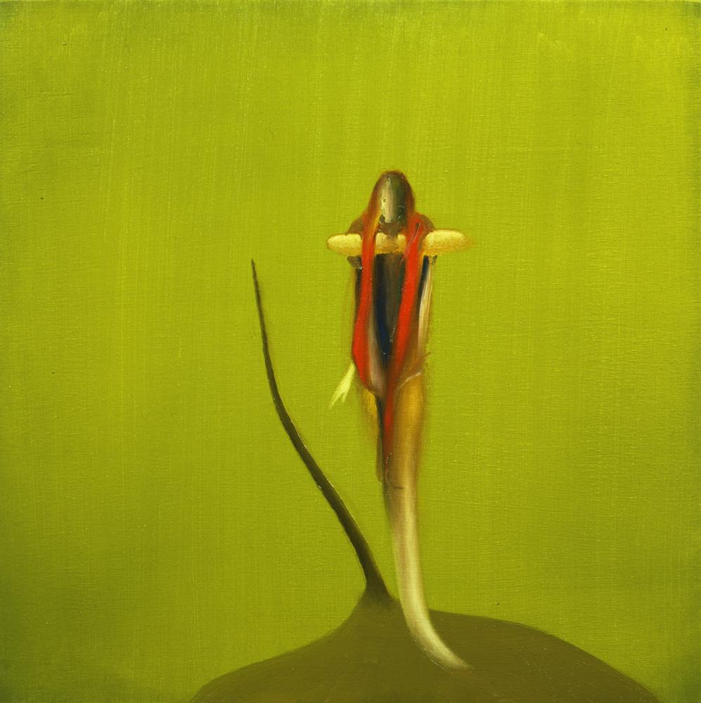Giuliano Guatta, La soppressione della possibile autosufficienza, 2005, oil on board, 40x40 cm,