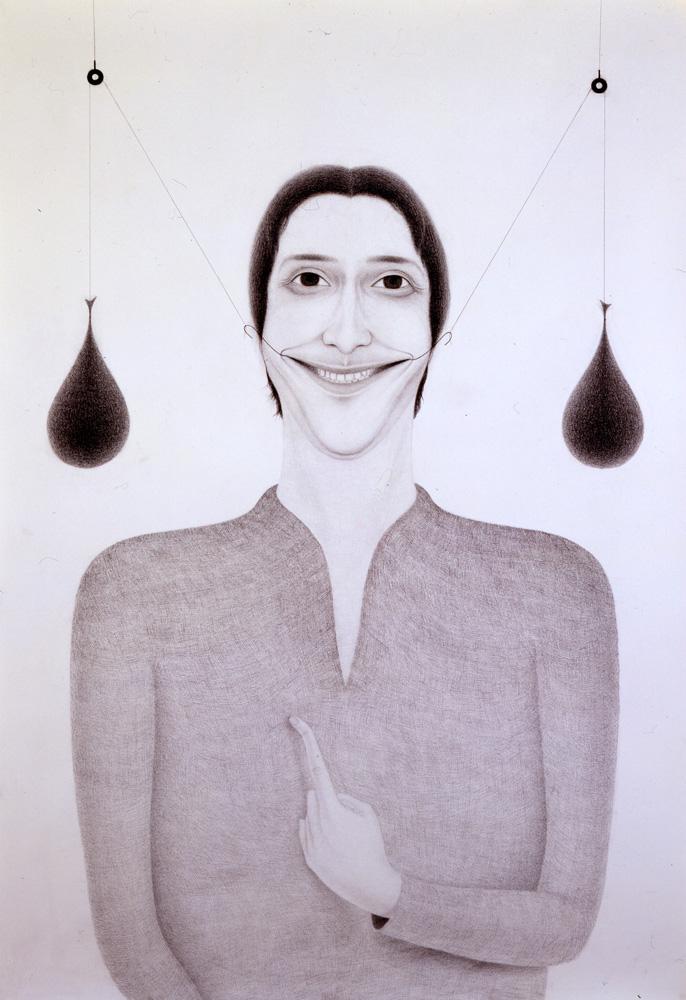 Giuliano Guatta, Il pollo e la serpe, 2004, pencil and graphite on paper, 216x150 cm