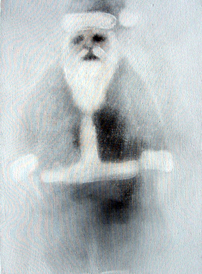 Santa, Acrilico Su Tessuto, Cm 35x25, 2004