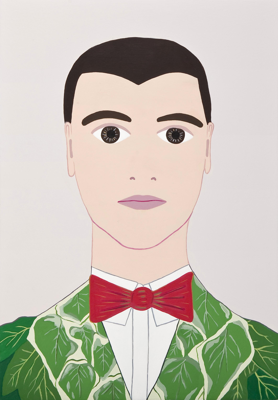 Fulvia Mendini, David Byrne, 2011, Acrilici Su Tavola Di Legno, 33x23cm