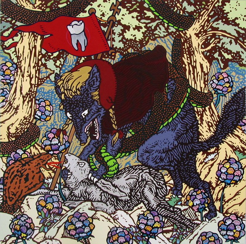Gabriele Arruzzo, Senza Titolo (hypocrite Tooth), 2010, Enamel And Acrylic On Canvas, 100x100 Cm