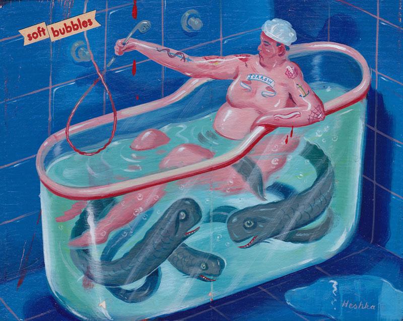 Ryan Heshka, Soft Bubbles, 2012, Acrylic And Mixed Media On Board, 10 X 13 Cm