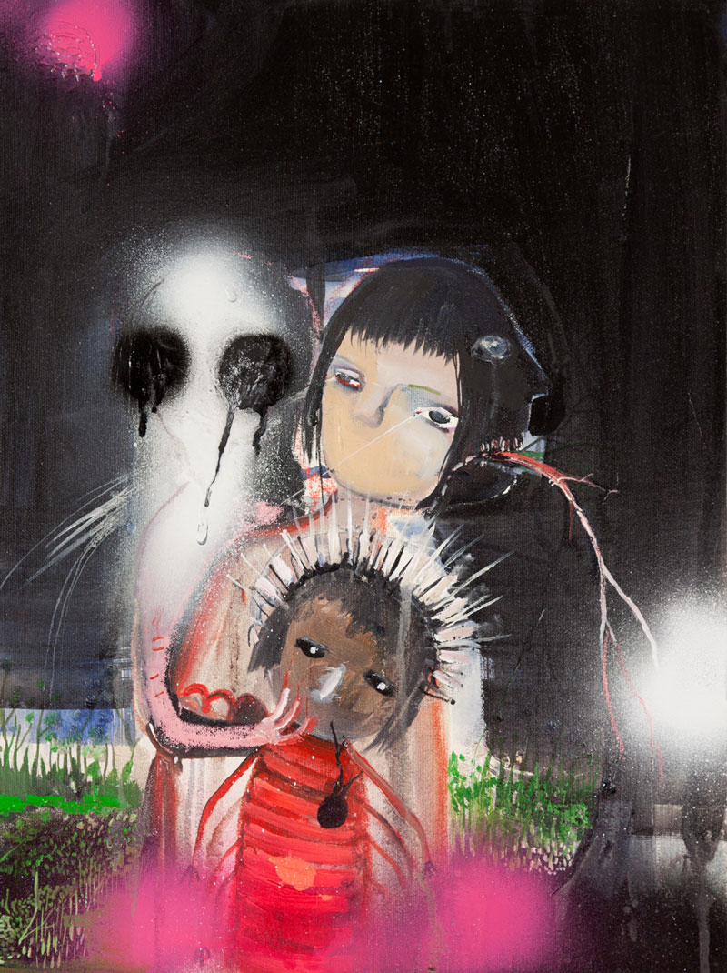 Silvia Argiolas, La Famiglia Con La Piccola S. Santa, 2011, Mixed Media On Paper, 30x20 Cm