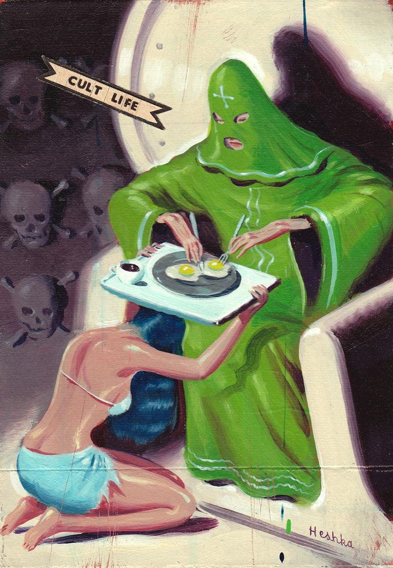 Ryan Heshka, Cult Life, 2012, Acrylic And Mixed Media On Board, 12,5x8,5 Cm