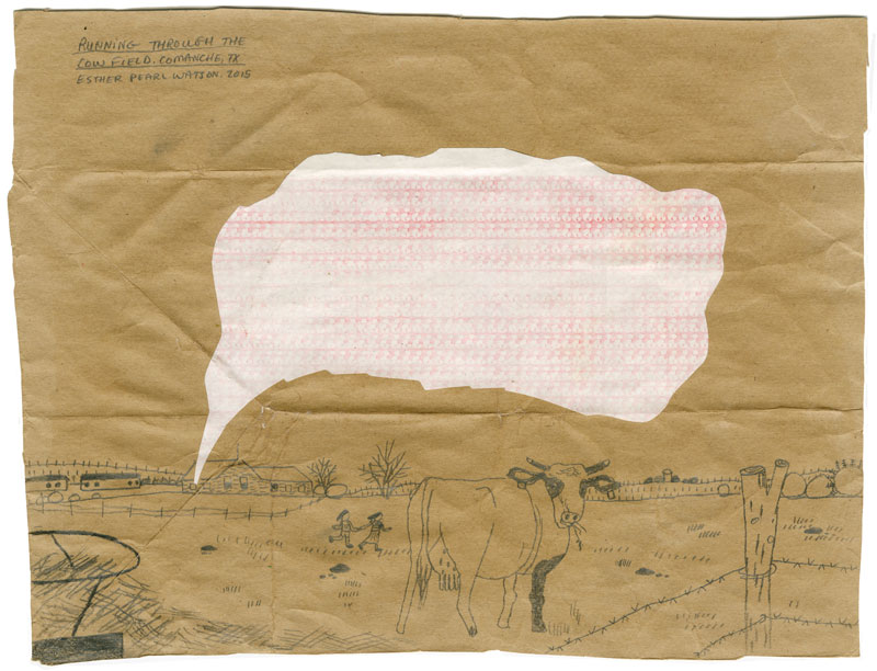 Esther P. Watson, Running Through the Cow Field, 2014, pencil on paper