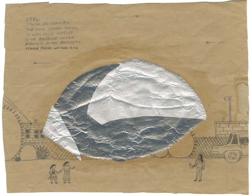 Esther P. Watson, Stuck in Dallas, 2014, pencil with foil on paper
