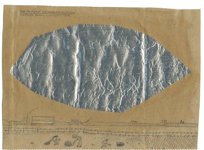 Esther Pearl Watson, The Future of Transportation, 2014, pencil with foil on paper