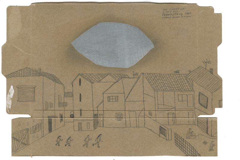 Esther Pearl Watson, The Street we Lived On, 2014, pencil with foil on paper