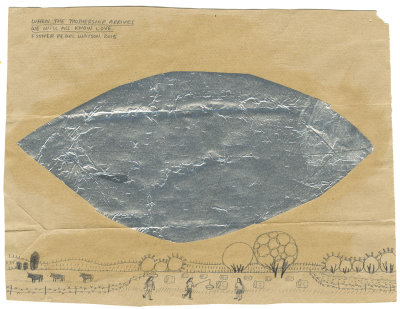 Esther Pearl Watson, When the Mothership Arrives We Will All Know Love, 2014, pencil with foil on paper