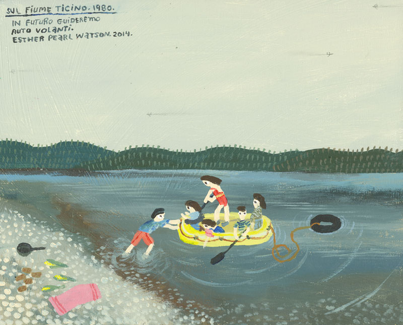 Esther Pearl Watson, Sul Fiume Ticino, 2014, acrylic and pencil on panel, 20x25 cm