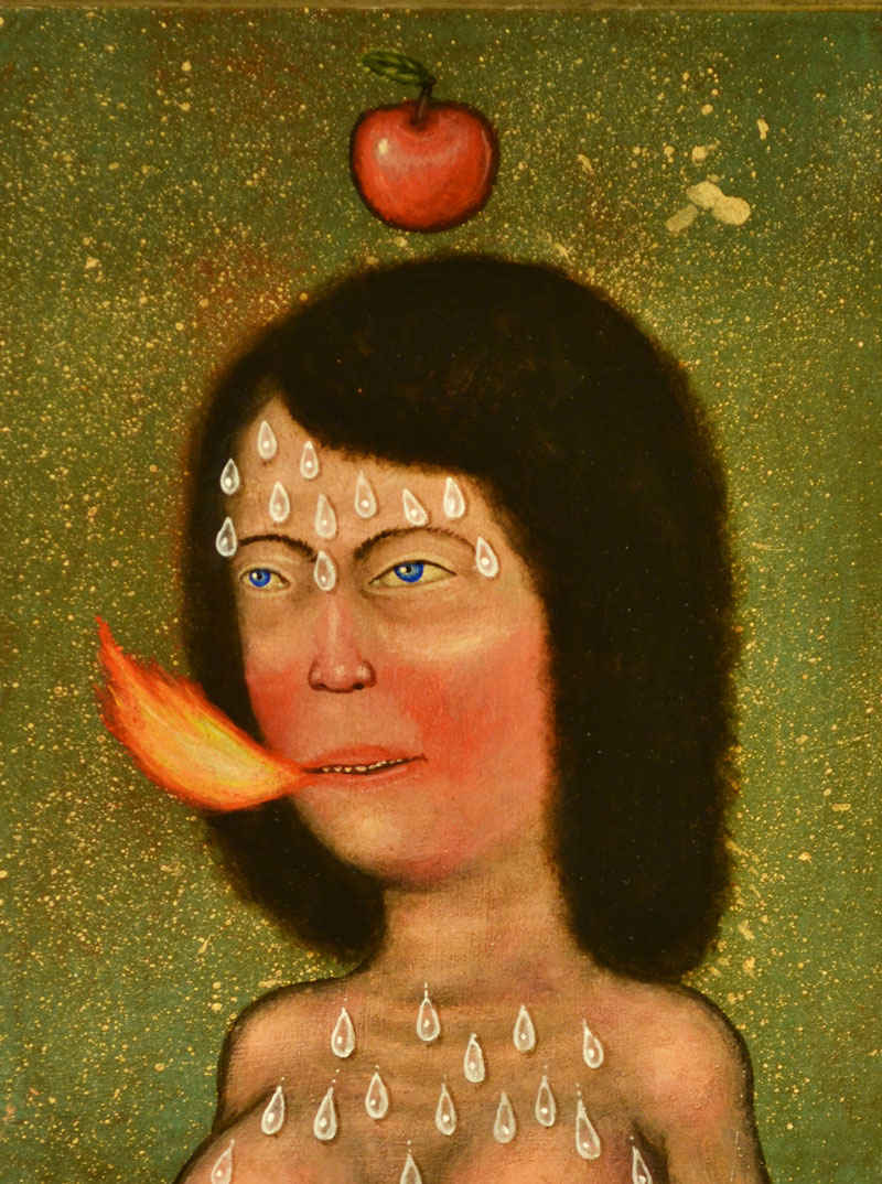 Fred Stonehouse, Apple, 2014, acrylic on panel with antique frame, 35x30 cm