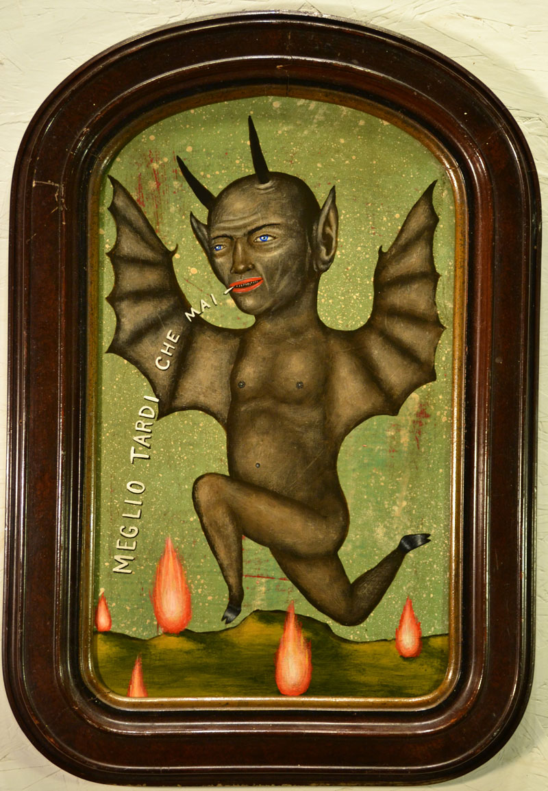 Fred Stonehouse, Better late than never, 2014, acrylic on panel with antique frame, 53x35 cm