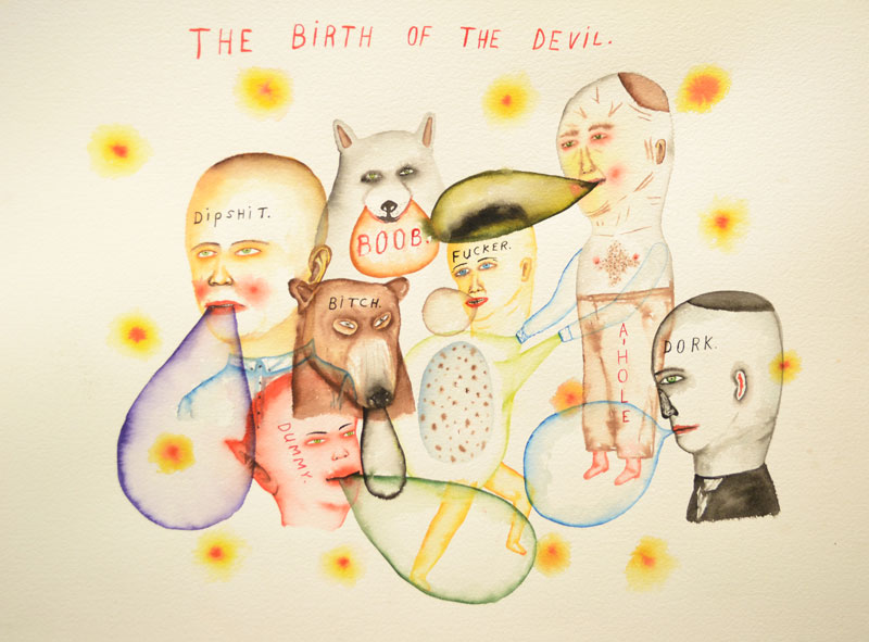 Fred Stonehouse, Birth of the Devil, 2014, watercolor on paper, 56x76 cm