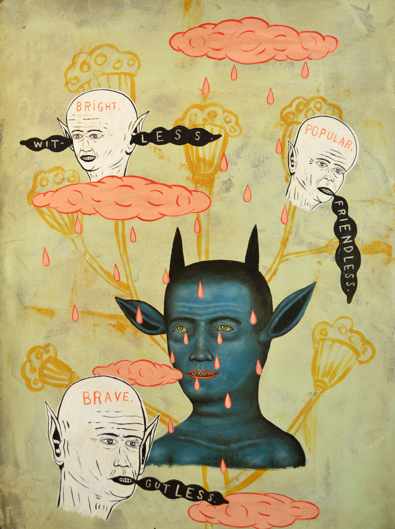 Fred Stonehouse, Blue-Devil, 2014, acrylic on paper, 76x56 cm