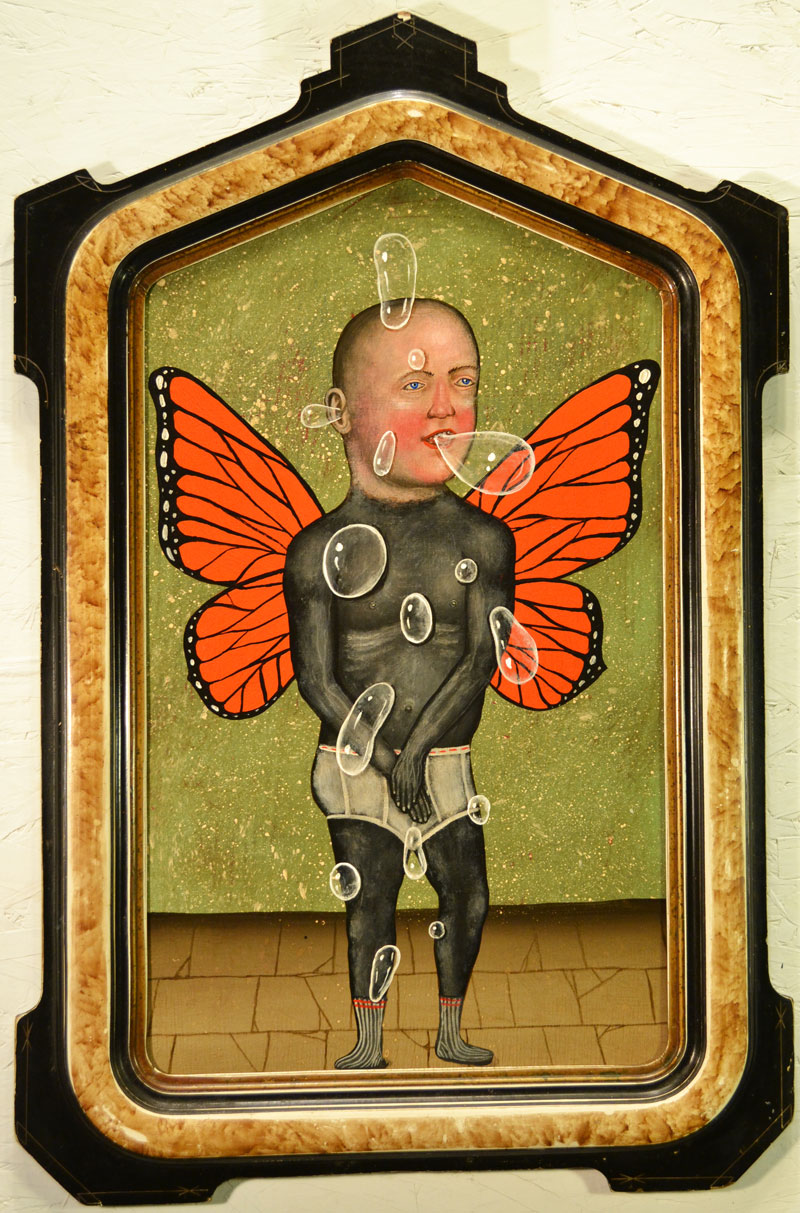 Fred Stonehouse, Bubbles, 2014, acrylic on panel with antique frame, 66x43 cm